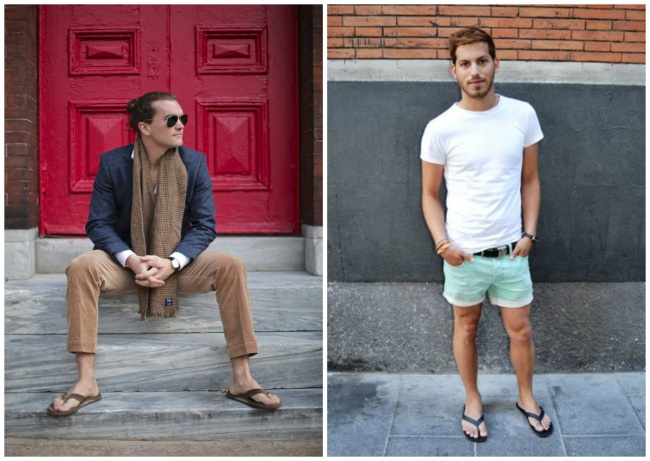 © thefineyounggentleman.com  © lookastic.com  Носить вьетнамки как мужчинам, так иженщи
