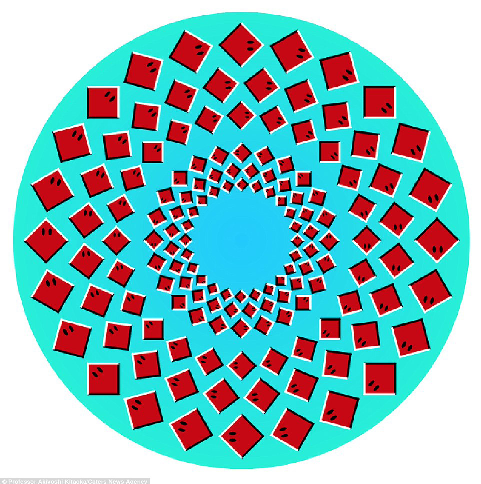 11. Кажется, что внутренний круг вращается по часовой стрелке: