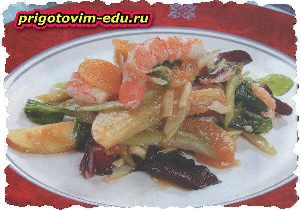 Салат с креветками по-гавайски