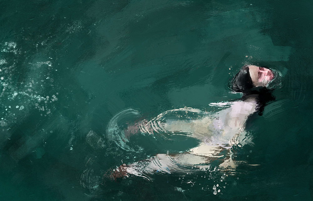 Here's a lovely series of swimming figures painted by Colombian illustrator and painter Pedro Covo .