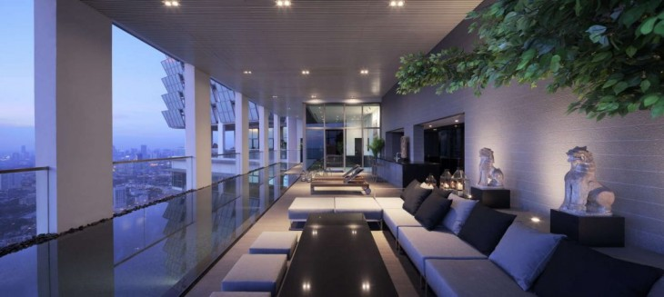 The PANO Penthouse is at the 53th – 55th floor of a high-end residential tower in Bangkok which is t