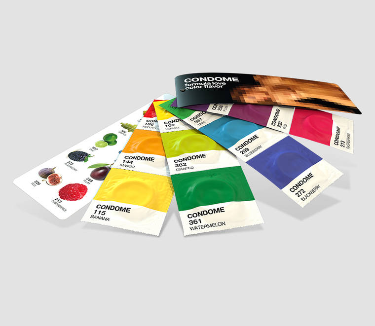 Pantone Condoms - Cute flavored condoms to make love in color