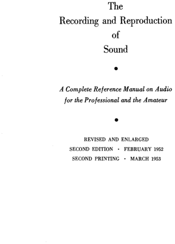 The Recording and Reproduction of Sound - Oliver Read - Book Cover