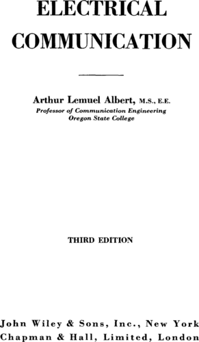 Electrical Communication - Arthur Lemuel Albert - Book Cover