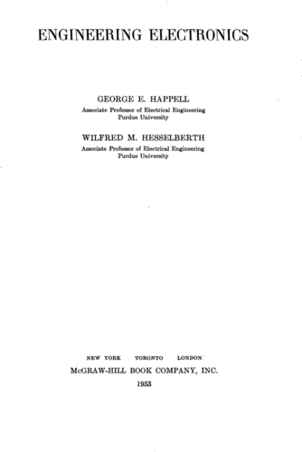 Engineering Electronics - George Happell and Wilfred Hesselberth - Book Cover
