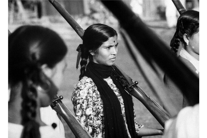 Women trainees holding rifles, during the conflict with China.