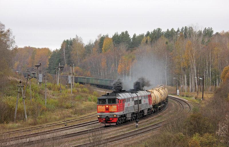 2ТЭ116-1369 на станции Гарнея, движется на Себеж. Рижское направление