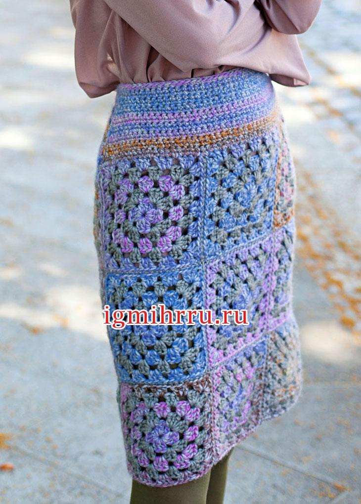 Шерстяная юбка из квадратных мотивов. Вязание крючком