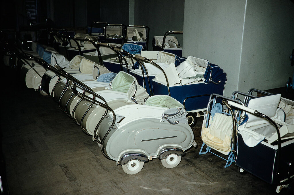 Russia, baby carriages for sale at store in Moscow