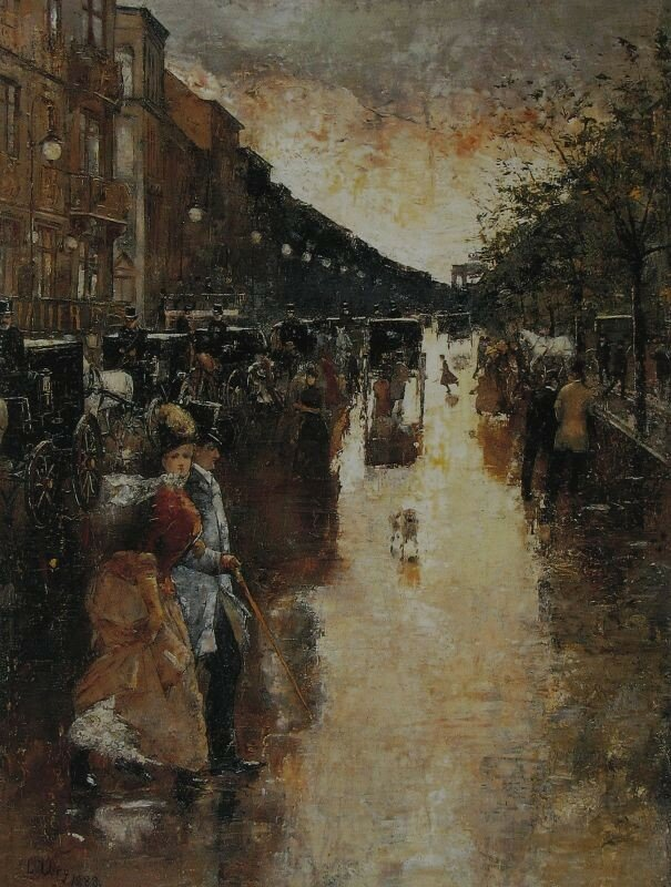 Унтер-ден-Линден после дождя. Лессер Ури 1888, 47.5×37 см