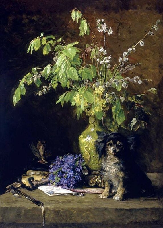 Spring Bouquet with Dog Bertha Wegmann