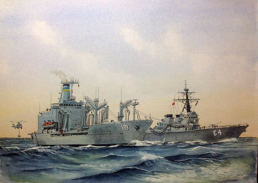 T-AO 189 USS BIG HORN and DDG USS CARNEY replenishment at sea.