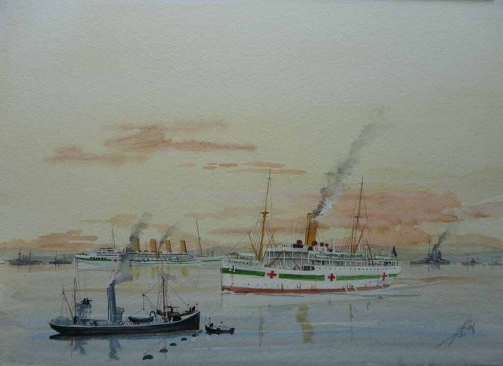Hospital ship Grantully Castle, with Aquitania, and another in the distance. Mudros Gallipoli.