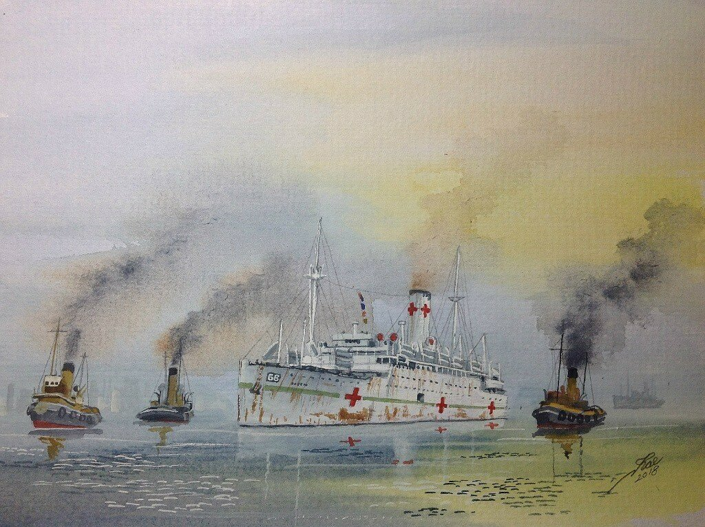 HMHS Letitia enters harbour during WW2 later renamed Captain Cook. I did a previous painting of her as such.