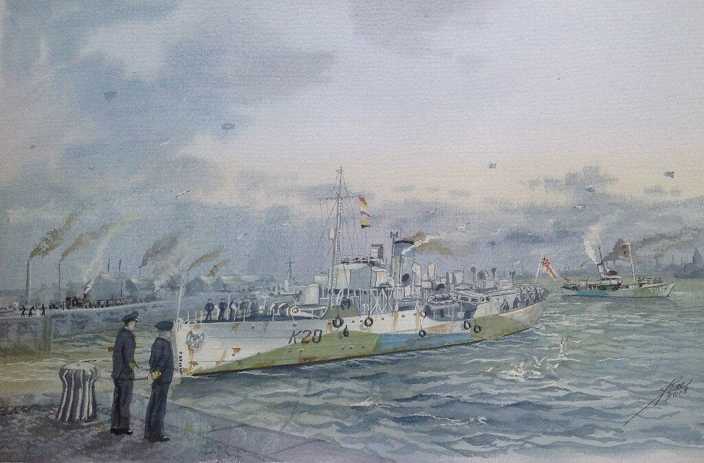 Corvette HMS STARWORT and Trawler HMS POLOCK probably on the Mersey again.