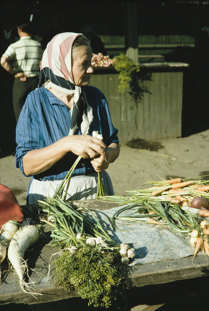Russia, merchant selling vegetables at market. Siberia
