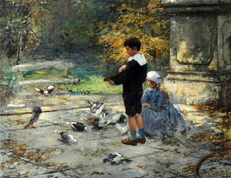 Park scene with two children, feeding pigeons
