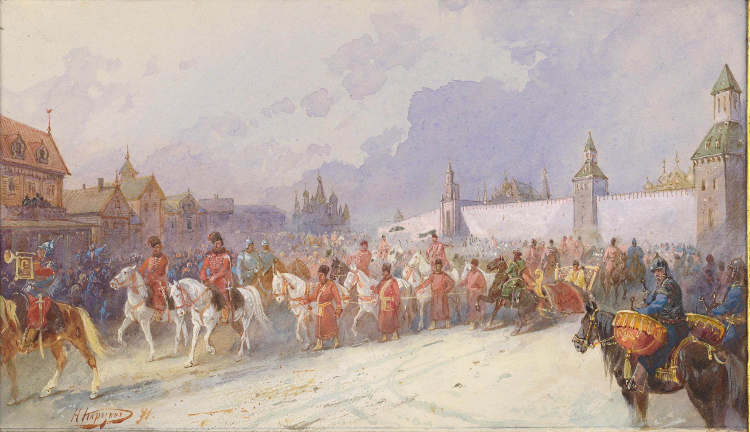 02. Въезд плененного Кучумова семейства в Москву. 1599