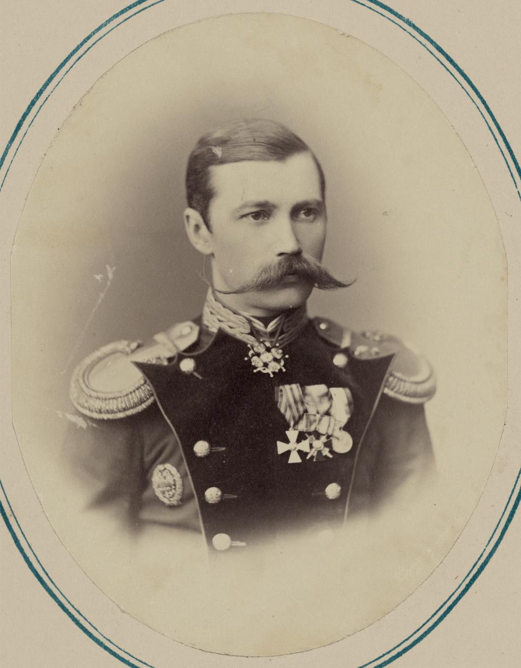 Георгиевские кавалеры и награжденные золотым оружием. За взятие укрепления Джизак 18 октября 1866 г. Капитан гвардии Н. А. Мазинг