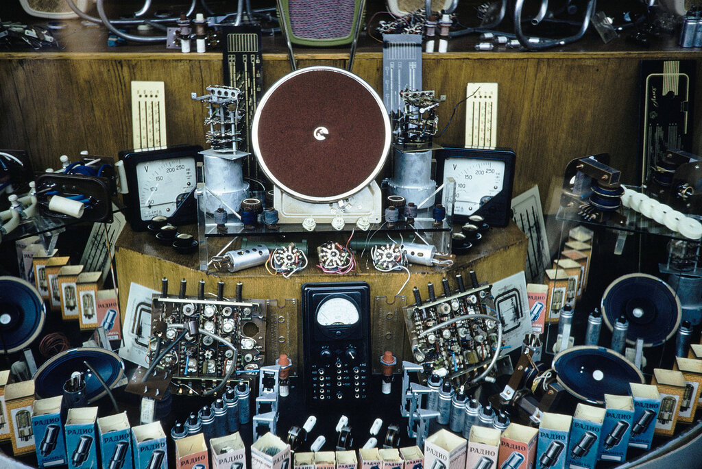 Russia, electrical components for sale at store in Moscow