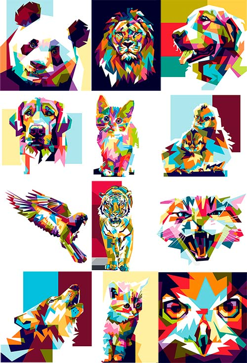 Разноцветные животные  в векторе/ Colorful animals in vector