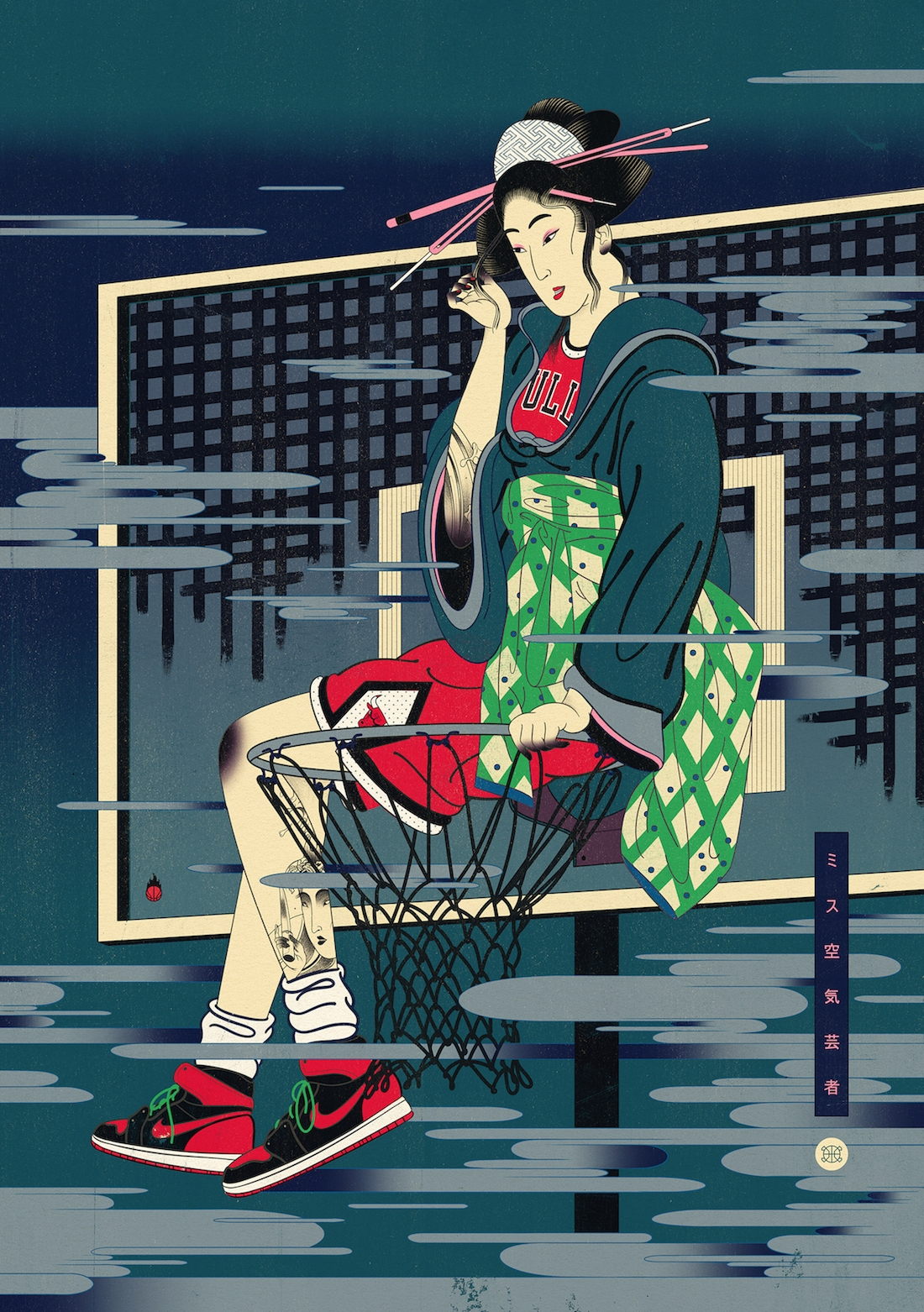 Illustrations Mixing Japanse Art & Basketball (5 pics)