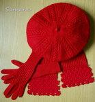 Берет, перчатки и шарфик. Фото 1