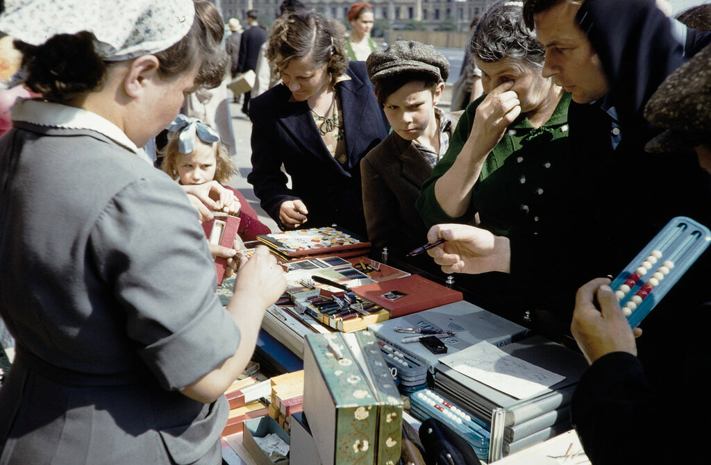 Russia, street vendors selling goods