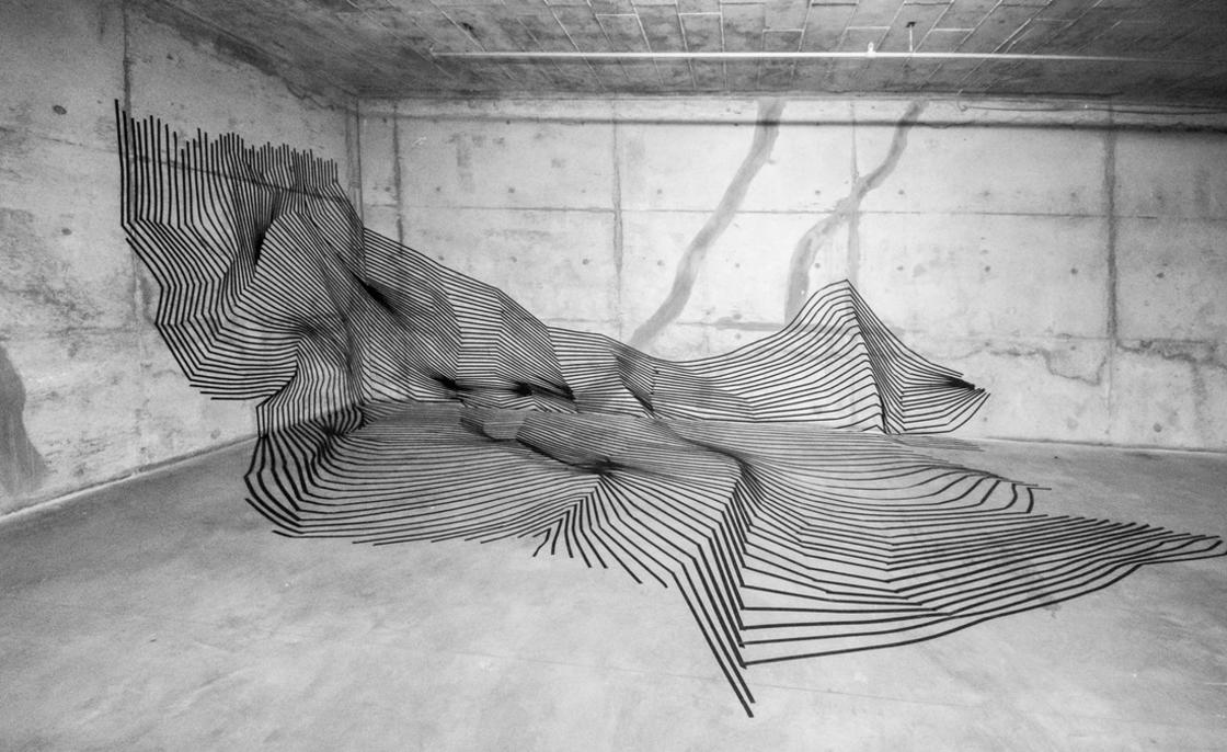 Tape Art – The amazing electrical tape installations by Darel Carey