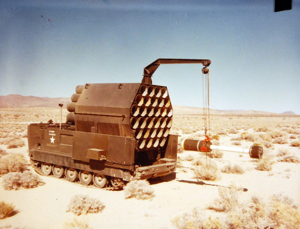 Naval Weapons Center, China Lake, California, February 8, 1977. A surface launched unit, fuel-air explosive (SLUFAE) AD-101 launcher with a DT-1 PQT-G round ready for loading.