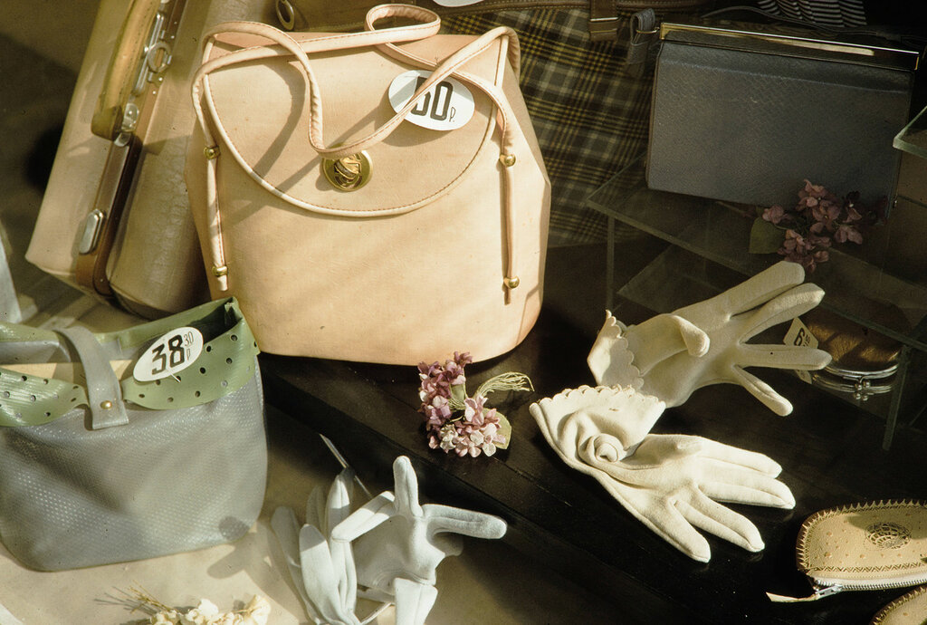 Russia, leather goods for sale at store in Moscow