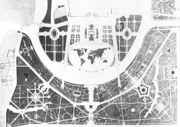 1930-е-середина_Территория Лужников в видении архитектора А.В. Власова. Низменная часть берега заполнена водой и решена в виде карты мира..jpg