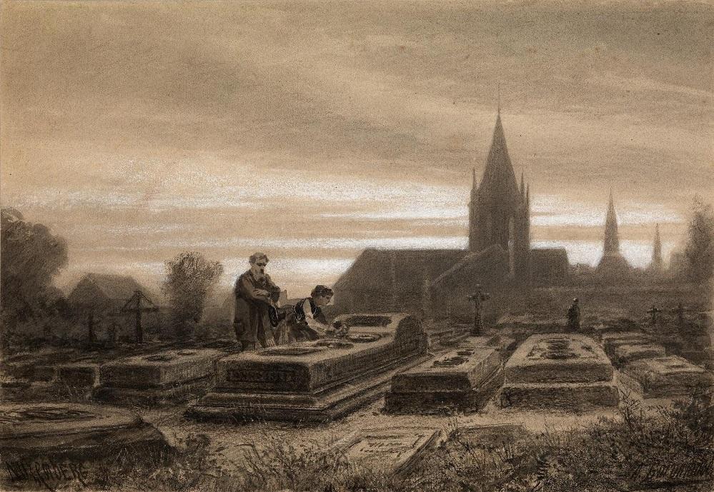 На кладбище , 1870