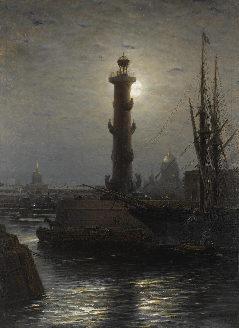 Ростральная колонна возле Фондовой биржи, Санкт-Петербург , 1878
