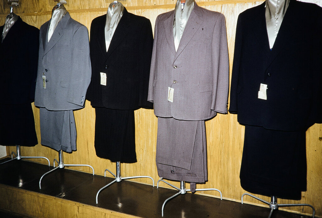 Russia, suits for sale at store in Moscow