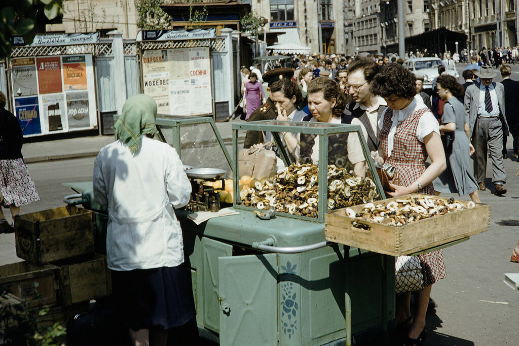 Russia, vendor selling fruits and nuts in Moscow