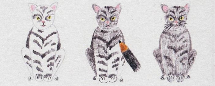Поэтапный рисунок сидящей кошки в анфас