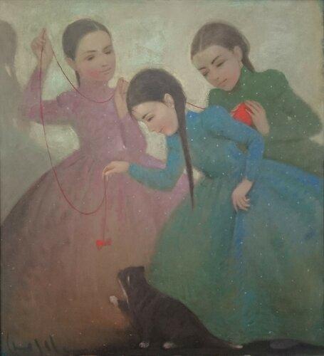 Сюзева (Девушки, играющие с кошкой)