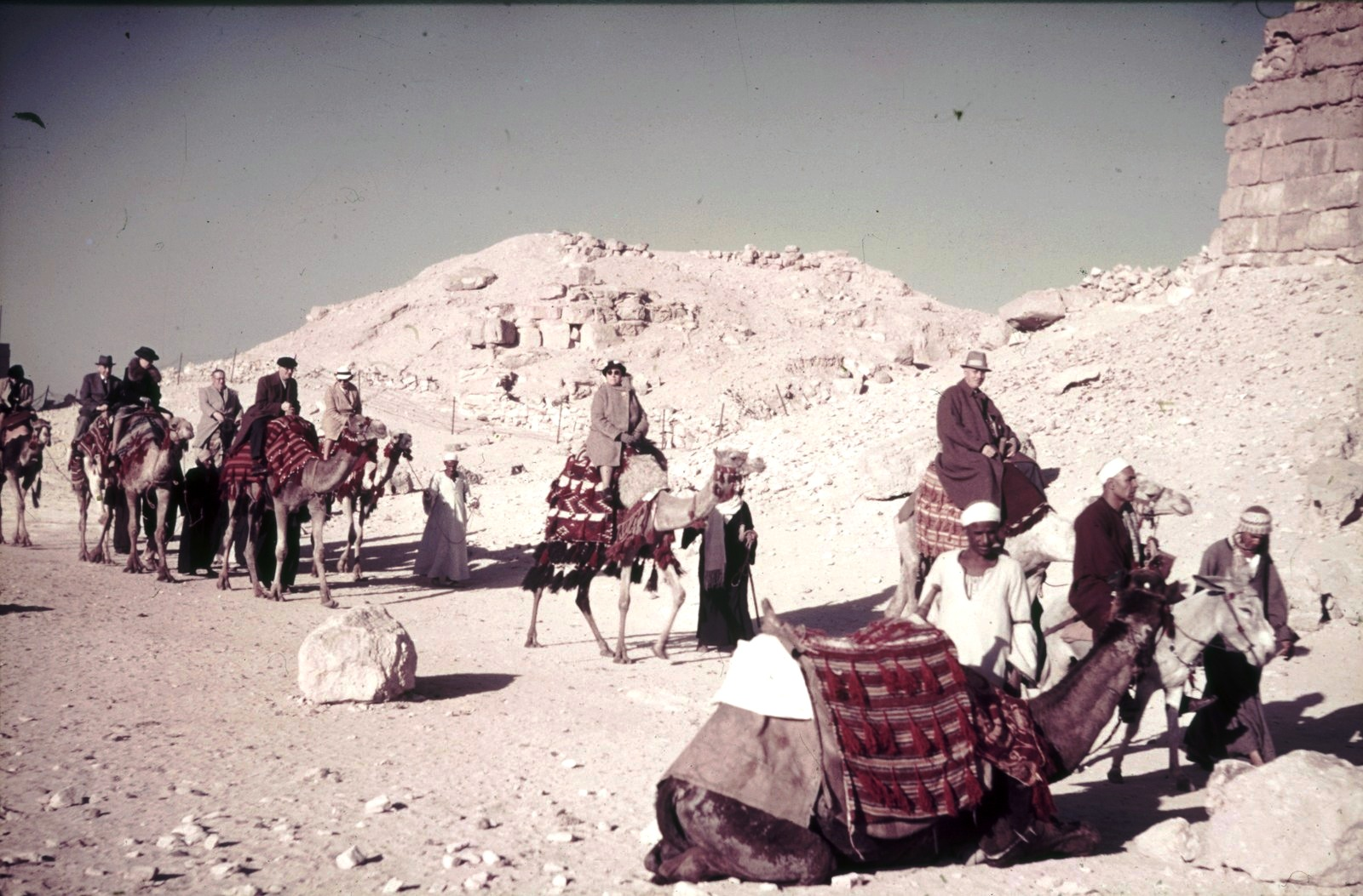 Верблюды с погонщиками и туристами в пустыне