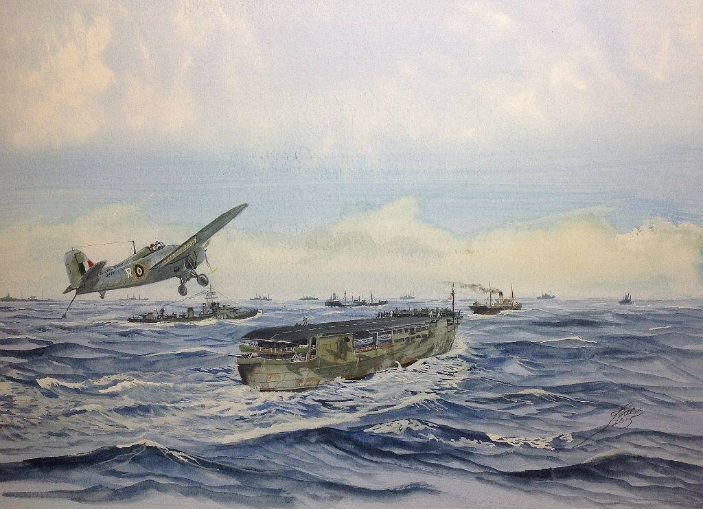 Sub Lt Eric Melrose 'Winkle' Brown, about to land aboard HMS Audacity.