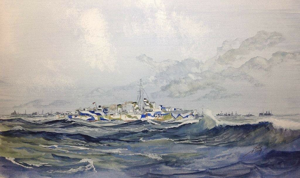 HMS ASHANTI 1943. Camo seems to work!, difficult to make her out.