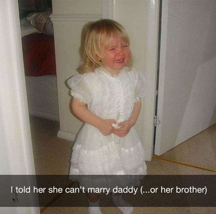 «Я сказала ей, что она не может выйти замуж за папу (или за брата)».