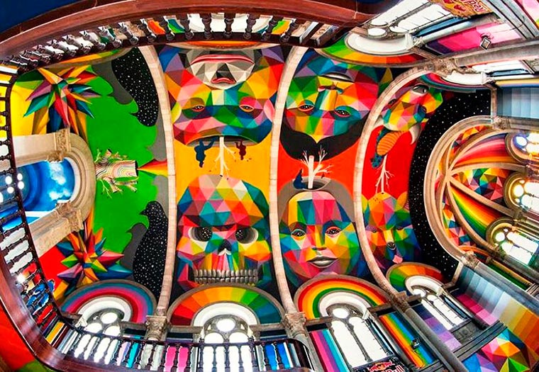 Street Art - When Okuda decorates an old church transformed into a skate park