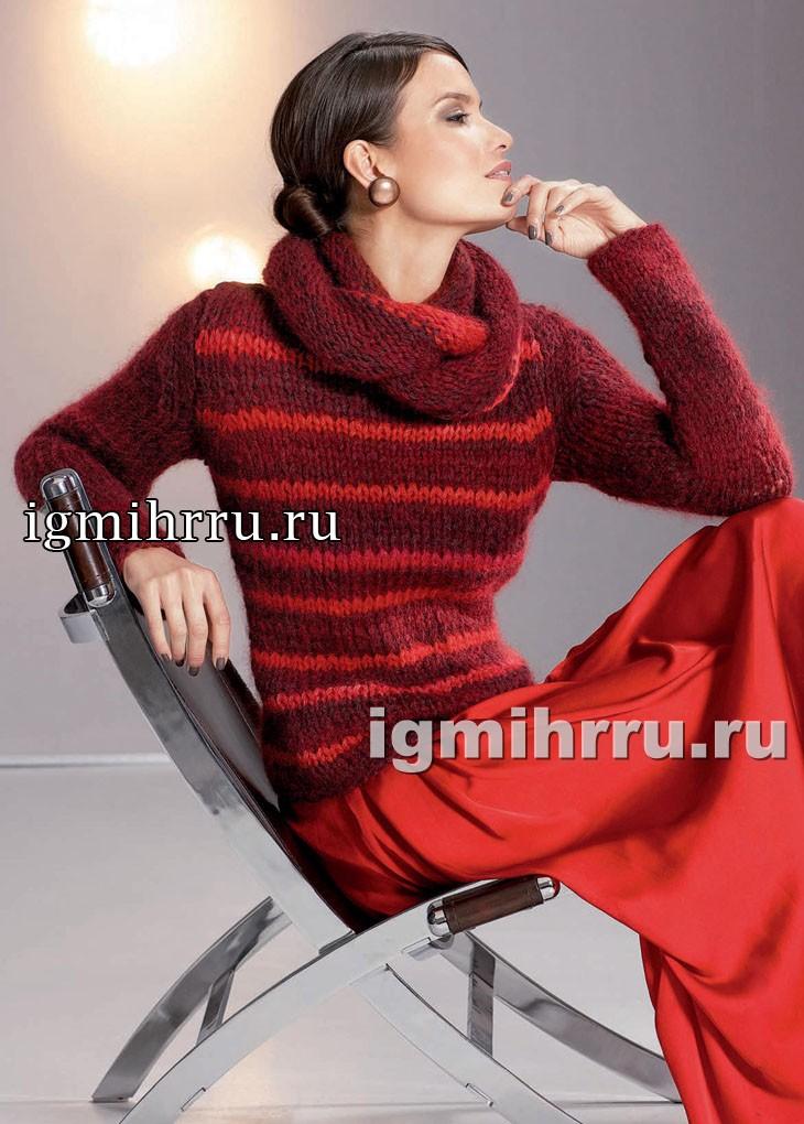 Мягкий теплый пуловер в красных тонах, с воротником-шарфом. Вязание спицами