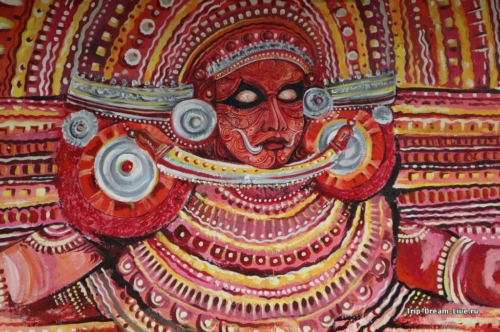 Изображение злодея из Катхакали