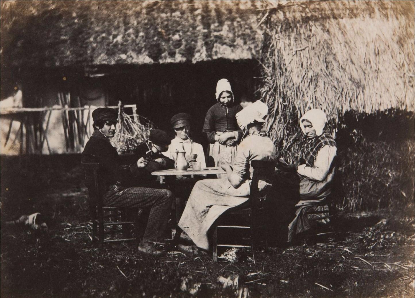 1853. Крестьянская семья играет в карты. Франция