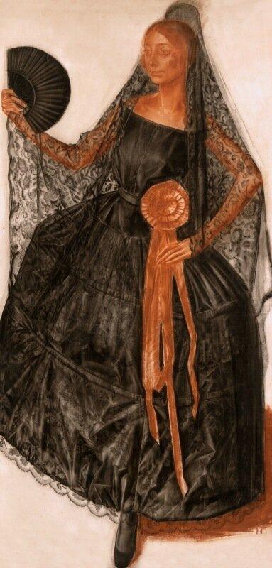 Александр Евгеньевич Яковлев - Танцовщица в испанском костюме (возможно Анна Павлова) (Портрет):