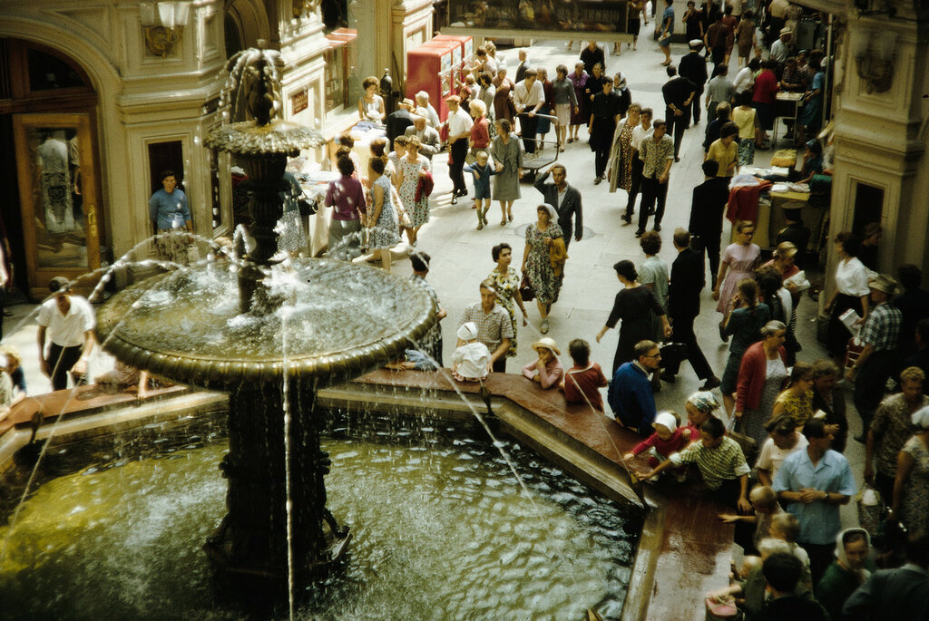 Russia, fountain inside GUM Department Store in Moscow