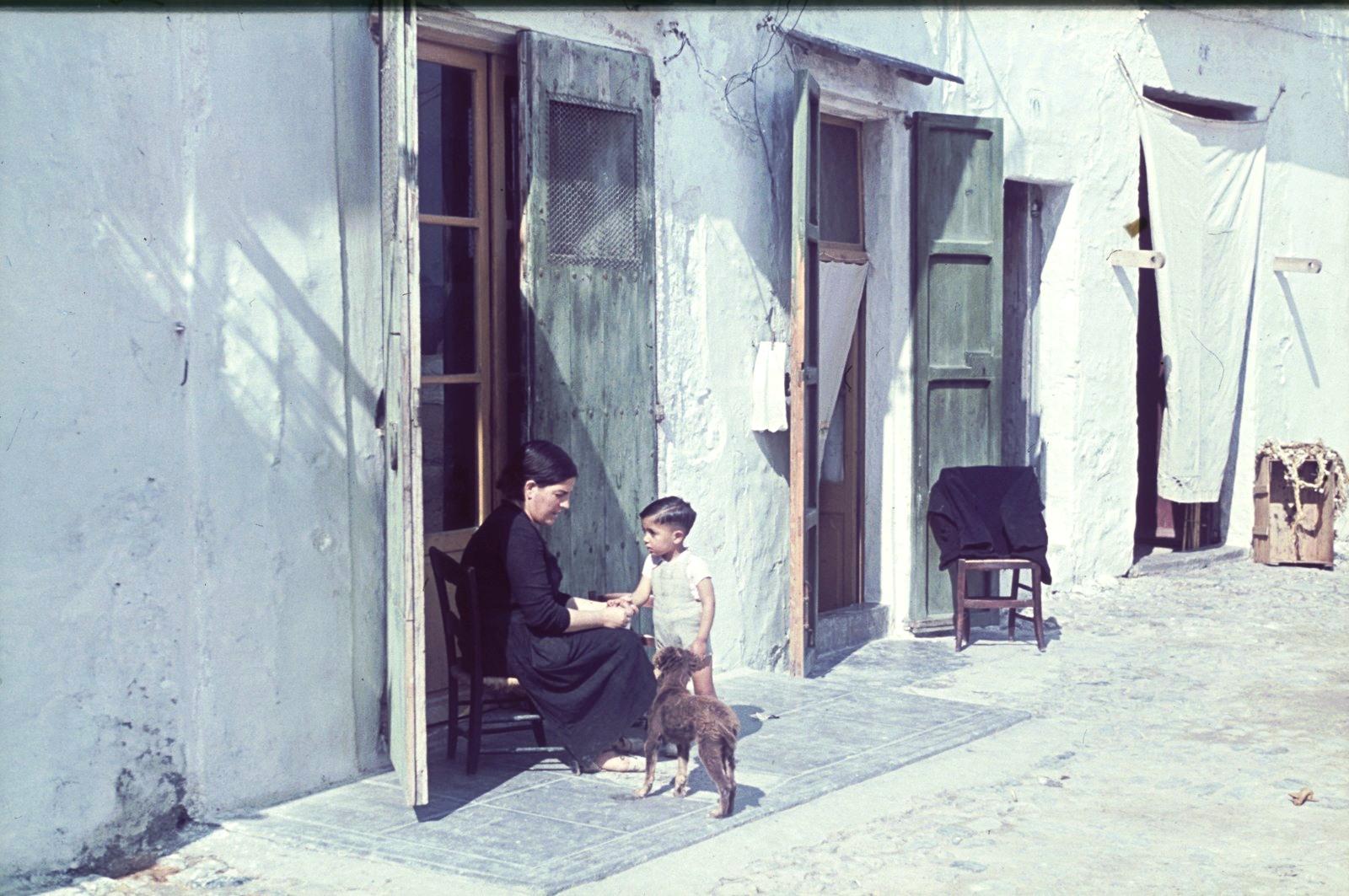 Мать с маленьким сыном и собакой перед жилым домом