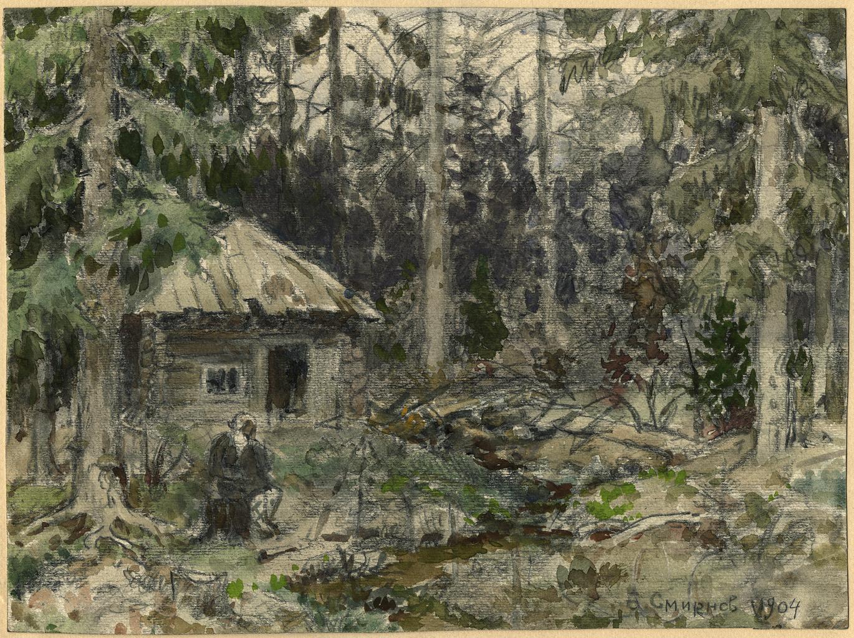 Избушка в Красноярской тайге, в которой несколько дней жил художник